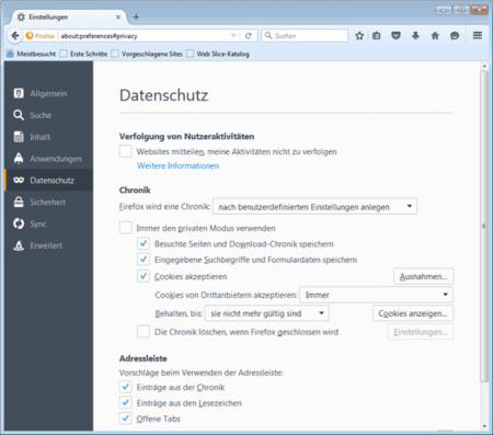 Browserverlauf speichern oder beim Beenden löschen, Einstellungen im Firefox Browser