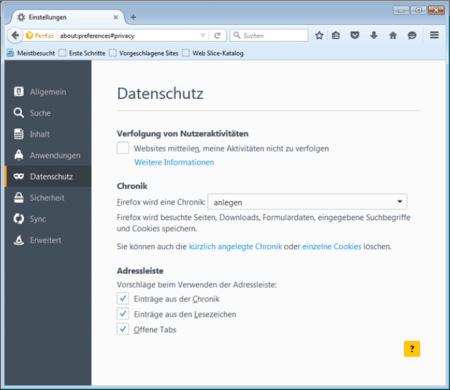 Datenschutzeinstellungen im Firefox Browser