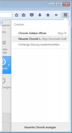 Neueste Chronik im Firefox löschen