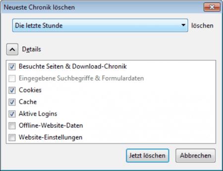 Neueste Chronik im Firefox Browser löschen