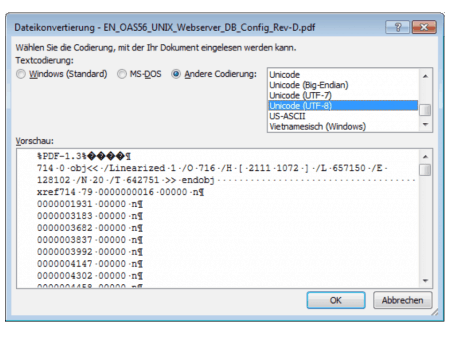 PDF-Import, mögliche Datei-Kodierungen damit Schrift richtig umgewandelt wird