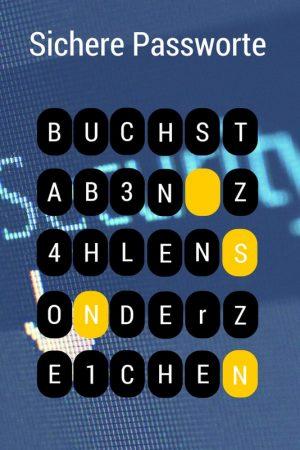 Sichere Passwörter aus Buchstaben, Zahlen, Sonderzeichen