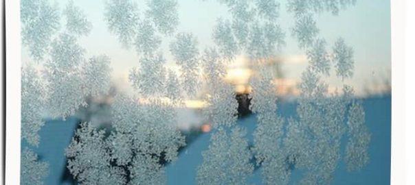 Winterlandschaft mit Eisblumen