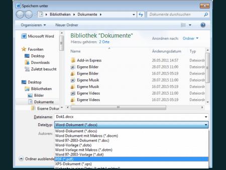 """Dateityp PDF auswählen in Word, bei """"Speichern unter"""""""